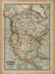 Antique Reproduction Map of North America