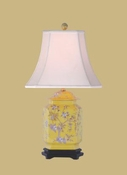PORCELAIN SIX SIDED FLORAL JAR LAMP