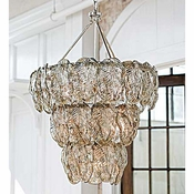 Silver Glass Leaves Chandelier