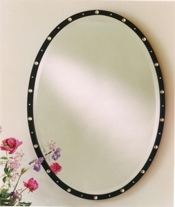 Black Oval Crystal Studded Mirror
