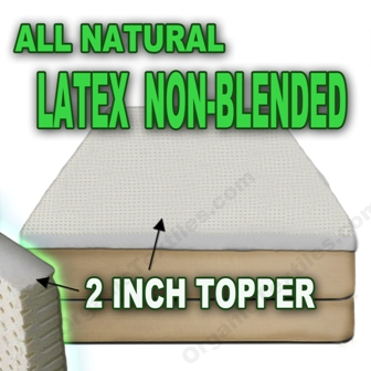 All Natural Non Blended Latex Mattress Topper Extra-Firm 2 inch thick