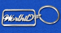 """WorthIt""  Tab Key Chain in Sterling Silver 0.925"