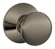 Schlage / Plymouth Knob / <U>Passage</U> / Antique Pewter / F10PLY 620