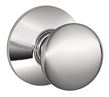 Schlage / Plymouth Knob / <U>Passage</U> / Bright Chrome / F10PLY 625