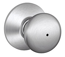 Schlage / Plymouth Knob / <U>Privacy</U> / Satin Chrome / F40PLY 626