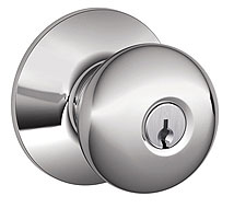 Schlage / Plymouth Knob / <U>Storeroom Keyed Entry</U> / Bright Chrome / F80PLY 625