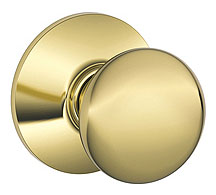 Schlage / Plymouth Knob / <U>Passage</U> / Bright Brass / F10PLY 605