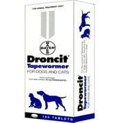 Droncit Tapewormer Dog - Cat (2 - 22lbs) 100 Tablets Breeders Pack