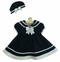 NEW Shirley Temple Style Navy Blue Sailor Dress and Matching Beret for Babies