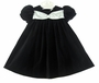 NEW Chabre Black Velvet Dress with White Satin and Rhinestone Trim