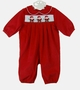 NEW Bailey Boys Red Pinwale Corduroy Romper with Santa Embroidery