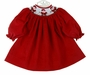 NEW Bailey Boys Red Pinwale Corduroy Bishop Smocked Dress with Santa Embroidery