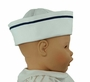 NEW Gordon and Company White Pique Sailor Hat with Navy Trim