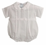 NEW White Feltman Brothers Pintucked Romper with Scalloped Embroidery