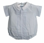 NEW Feltman Brothers Pale Blue Baby Romper with White Embroidered Collar