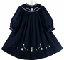 NEW Royal Child Navy Bishop Smocked Dress with Pink Birthday Embroidery and Ribbon Appliques