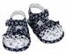 NEW Sarah Louise Navy Flowered Sandals with Dotted Ruffled Trim