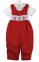 "<img src=""http://site.grammies-attic.com/images/blue-sold-1.gif""> NEW Rosalina Red Smocked Longall Set with Santa Embroidery"