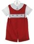 "<img src=""http://site.grammies-attic.com/images/blue-sold-1.gif""> NEW Rosalina Red Smocked Shortall Set with Santa Embroidery"