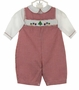 "<img src=""http://site.grammies-attic.com/images/blue-sold-1.gif""> NEW Petit Ami Red Checked Smocked Romper and Matching Hat with Holiday Embroidery"