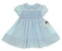 """<img src=""""http://site.grammies-attic.com/images/blue-sold-1.gif""""> NEW Sarah Louise Blue Smocked Dress with Eyelet Embroidered Collar"""