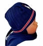 NEW Navy Hat with Attached Scarf with Appliqued Penguin