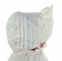 NEW White Pintucked Bonnet with Eyelet Trim and Blue Satin Ribbon
