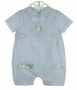 NEW Sarah Louise Blue Romper with Bunny and Carrots Embroidery