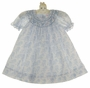 NEW Petit Ami Blue Flowered Voile Bishop Smocked Dress with Pink Rosebuds and Seed Pearls