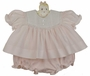 "<img src=""http://site.grammies-attic.com/images/blue-sold-1.gif""> NEW Hand Embroidered Pink and White Diaper Set with Pintucks and Lace Trim"