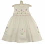 NEW Sarah Louise White Smocked Dress with Pink and Lavender Flowers