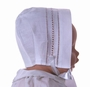 "<img src=""http://site.grammies-attic.com/images/blue-sold-1.gif""> NEW White Linen Bonnet with Ladder Stitching And Openwork for Boys or Girls"