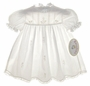 NEW Rosalina Vintage Style Pale Ivory Embroidered Cotton Baby Dress with White Lace Trim