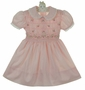 Polly Flinders Pink Smocked Dress with Eyelet Trimmed Collar and Cuffs