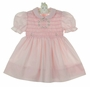 Polly Flinders Pink Smocked Dress with Garland Of Flowers Embroidery