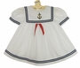 Vintage White Sailor Dress with Red Ribbon Tie and Anchor Embroidery