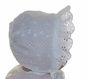 Vintage 1940s White Eyelet Baby Bonnet with Organdy Lining and Open Crown