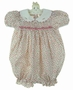 "<img src=""http://site.grammies-attic.com/images/blue-sold-1.gif""> Polly Flinders Pink Rosebud Print Smocked Bubble with White Scalloped Collar"