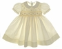 NEW Feltman Brothers Pale Yellow Smocked Baby Dress with Fagoted Collar