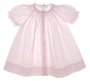 NEW Feltman Brothers Pale Pink Smocked Daygown with Lace and White Embroidery