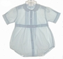 Feltman Brothers Pale Blue Pintucked Baby Romper with Embroidered Collar