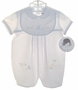 NEW Sarah Louise White Baby Romper with Bear Embroidery and Matching Bib and Hat