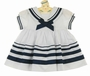 NEW Sarah Louise White Sailor Dress with Navy Trim for Babies and Toddlers