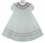 NEW Willbeth White Bishop Smocked Dress with Red Heart Embroidery