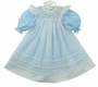 NEW Will'Beth Blue Long Sleeved Dress with White Bishop Smocked Pinafore