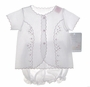 NEW Willbeth White Diaper Set with Delicate Pink Embroidery