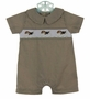 NEW Bailey Boys Brown Plaid Smocked Shortall with Embroidered Puppies