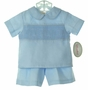 NEW Rosalina Blue Smocked Linen Shorts Set
