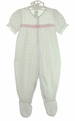 NEW Rosebud Print Footed Pajamas with Eyelet Trim and Long or Short Sleeves
