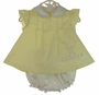 NEW Will'Beth Yellow Pintucked Dress with Angel Sleeves and Embroidered Bunny